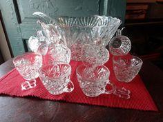 Vintage Anchor Hocking 18 Piece Arlington Pattern Punch Bowl Set | SelectionsBySusan - Kitchen & Serving on ArtFire