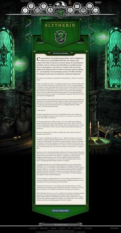 Pottermore welcome letter. Slytherin