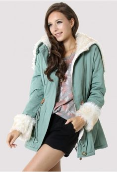 Faux Fur Aviation Jacket in Mint #Chicwish