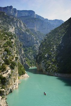 My Love of Fjords and Gorges Entrance to the Gorges from the Lake - Gorges du Verdon, Provence-Alpes-Cote d'Azur, France Places Around The World, The Places Youll Go, Places To See, Around The Worlds, Wonderful Places, Beautiful Places, Provence France, Voyage Europe, South Of France