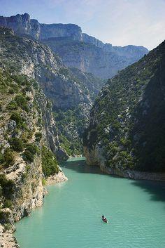 Entrance to the Gorges from the Lake - Gorges du Verdon, Provence-Alpes-Cote d'Azur, France