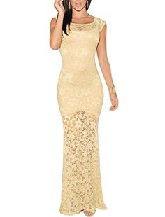 Ladies Floral Design Scoop Neck Sexy Lace Bodycon Maxi Dress Beige XS * Read more reviews of the product by visiting the link on the image.