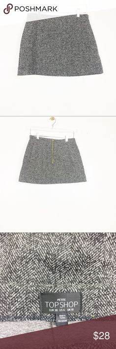 """Topshop petite  knit mini skirt with zipper Super chic skirt In a year round style .  - zipper in back with gold hardware  - herringbone pattern - lightweight  - length 15"""" - waist 27""""  Preowned . Like new , shoes no wear ! No flaws Topshop Skirts Mini"""