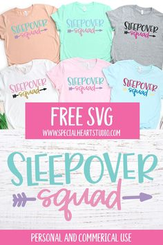 Sleepover Squad Cut file in SVG, DXF, PNG and EPS formats. Use this design with your electronic cutting machine to make a sleepover bag or shirt for your daughter. Free Svg Cut Files, Svg Files For Cricut, Sleepover Bag, Slumber Parties, Slumber Party Birthday, Kylie Birthday, 12th Birthday, Birthday Ideas, Making Shirts