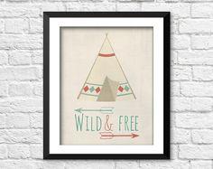 Wild and free art print tribal art tribal by RainbowsLollipopsArt, $8.00