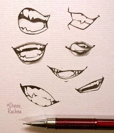 Anime Mouth Drawing, Teeth Drawing, Smile Drawing, Drawing Reference Poses, Drawing Poses, Boca Anime, Drawing Face Expressions, Body Drawing Tutorial, Drawing Tutorials