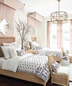 Podcast 50 with Suzanne Kasler: Pink bedroom with twin beds, pink canopy panels, and embroidered bedding design by Suzanne Kasler for Ballard Designs - Pool house? Twin Girl Bedrooms, Pink Bedrooms, Guest Bedrooms, Girls Bedroom, Twin Bedroom Ideas, Twin Bed For Girls, Two Twin Beds, Bedroom Themes, Small Room Bedroom
