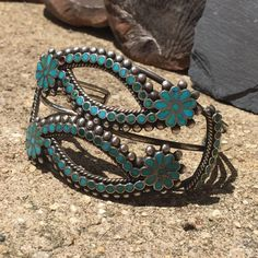 Vintage Dishta old pawn Native American Zuni bracelet Silver and Turquoise