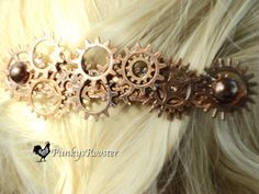 STEAMPUNKERS!! New listing only $18.00    Extra Large Copper Colored Metal Barrette by PunkysRooster on Etsy