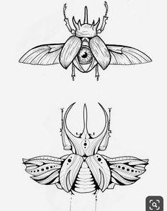 Scarab Tattoo, Beetle Tattoo, Bug Tattoo, Insect Tattoo, Tatoo Henna, Moth Tattoo, Tattoo Sketches, Tattoo Drawings, Art Drawings