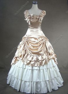 Southern Belle Civil War Satin Ball Gown Prom Dress Reenactment Clothing Theater Wear