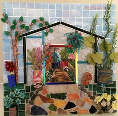 Silver Glass Greenhouse - Glass Mosaic by SuzanneImagineArt on Etsy