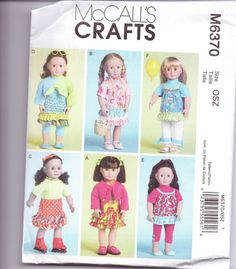 McCalls 6370 18 Doll Clothes Sewing Pattern New/Uncut Fits American Girl Dress Bolero Top Skirt Cami Leggings Pants Sewing Doll Clothes, Baby Doll Clothes, Sewing Dolls, Doll Clothes Patterns, Doll Patterns, Vintage Patterns, Clothing Patterns, Paper Patterns, Girls Summer Outfits