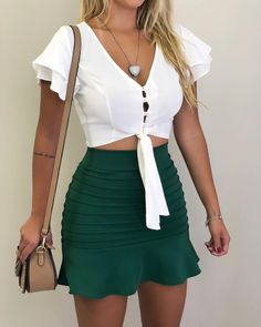 V Neck Single Breasted Exposed Navel Plain blouse for women blouse for women casual blouse for women work blouse for women chic blouse for women summer Trend Fashion, Work Fashion, Womens Fashion, Latest Fashion, Mode Outfits, Fashion Outfits, School Outfits, Summer Outfits, Casual Outfits