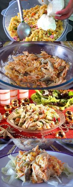 Salpicão De Macarrão #Salpicao#comida #culinaria #gastromina #receita #receitas #receitafacil #chef #receitasfaceis #receitasrapidas My Favorite Food, Favorite Recipes, Salty Foods, Paella, Potato Salad, Bacon, Healthy Living, Food Porn, Food And Drink