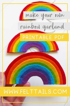 How to make a Felt Rainbow Rainbow Nursery, Rainbow Room, Rainbow Baby, Easy Felt Crafts, Felt Diy, Yarn Crafts, Craft Tutorials, Craft Projects, Craft Ideas