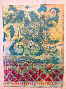 Last weekend I had another lovely Saturday spending time creating.  These are my latest monotype prints using the 12x14 Gelli plate.  I am in my happy place when I manage to spend time creating.  My friend Stephanie was able to join me for the day and she had fun breaking in her new Gelli plate.