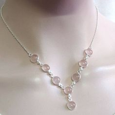 """Natural Rose quartz Necklace, 925 sterling silver Necklace,Rose quartz gemstone Retro Necklace,Birthday Gift 18 1/4"""" X1365 by DIYJewelrysale on Etsy"""