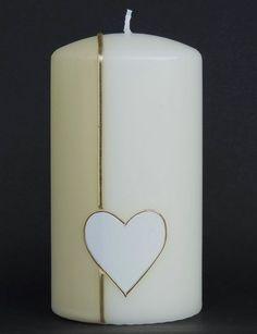 """Hochzeitskerze """"Schlichtes Herz"""" von CERA-Kerzen auf DaWanda.com"""