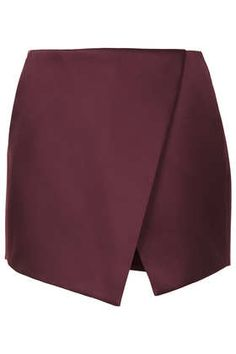 Mulberry luxe satin asymmetric wrap skort with back zip and front pockets. Satin, Mulberry Color, Skirt Fashion, Fashion Outfits, Jupe Short, Wrap Skort, Topshop Shorts, Future Clothes, Cool Style