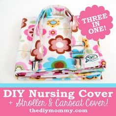 Sew a Nursing Cover, Stroller Shade and Carseat Canopy Nursing Cover Pattern, Car Seat Cover Pattern, Baby Gifts To Make, New Baby Gifts, Baby Sewing Projects, Sewing Ideas, Homemade Baby, Baby Crafts, Baby Patterns