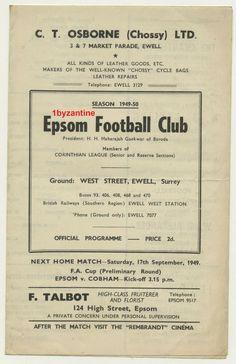 1949 Epsom v Hounslow Town Football Programme Football Program, Football Cards, Football Players, Leather Repair, Everton Fc, Programming, London, Usa