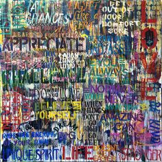 Personalized Graffiti with Inspirational and Motivating Quotes.  This amazing large scale painting will be the centerpiece of your room!  Its
