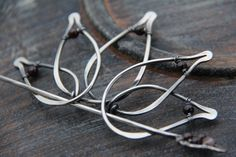 Hair slide hair barrette sterling silver and by Keepandcherish