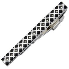 L-203 Stainless Steel Enamel Silver Toned Tie Clasp Clip Bar + Gift Box FREE S&H #JASONVOGUE #TieBarClipClasp