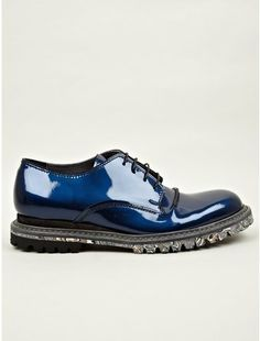 Lanvin Mens Iridescent and Rubbereffect Derby Shoes