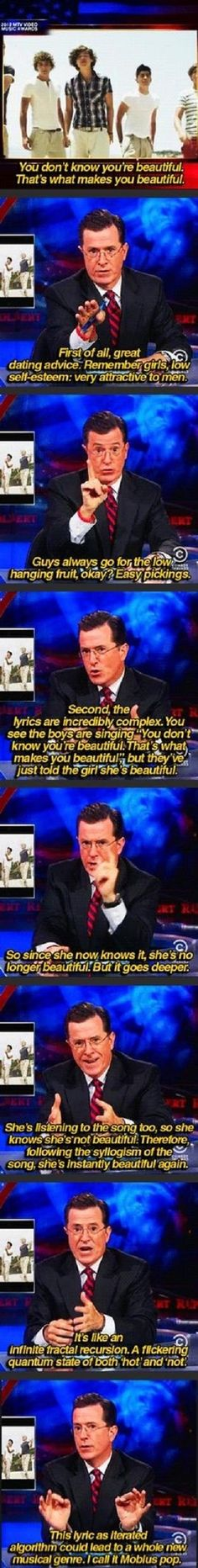 Stephen Colbert talking about One Direction's song lyrics