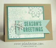 Stampin Up! Letterpress Winter Snowflake Card - Julies Stamping Spot -- Stampin Up! Create Christmas Cards, Stamped Christmas Cards, Simple Christmas Cards, Homemade Christmas Cards, Noel Christmas, Xmas Cards, Homemade Cards, Holiday Cards, Card Making Inspiration