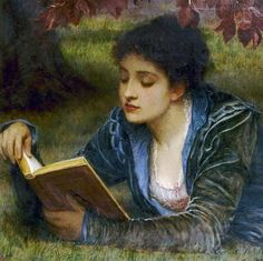 Charles Edward Perugini, Girl reading, 1879 - Charles Edward Perugini September 1839 – 22 December originally Carlo Perugini, was an Italian-born English painter of the Victorian era. Girl Reading, Reading Art, Love Reading, Reading Books, Charles Edward, Louis Aragon, Books To Read For Women, Victorian Art, Lectures