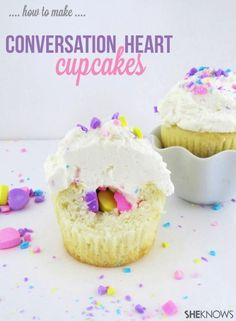 How to Make Conversation Heart Cupcakes - these are AMAZING!!