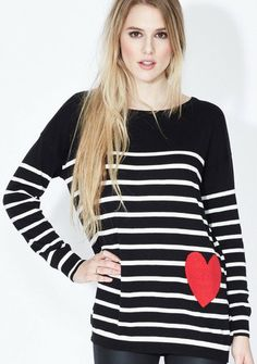 Look at this Sugarhill Boutique Black & White Saskia Sweater on today! Casual Outfits, Fashion Outfits, Casual Clothes, Trendy Fashion, Black And White Heart, Heart Sweater, Got The Look, Fashion Colours, Striped Tee