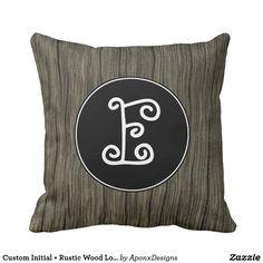 Custom Initial + Rustic Wood Look Pattern Pillow Rustic Design, Rustic Wood, Decorative Throw Pillows, Initials, Pattern, Fun, Accent Pillows, Patterns, Model