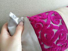 モロッコ クッション アラベスク ストライプ ピンク (桃)×シルバー (銀) 横長
