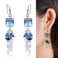Cubic Cluster Blue Swarovski Crystal Dangle/Drop Earrings Christmas Gift CE97 #Bearfamilybirth #DropDangle