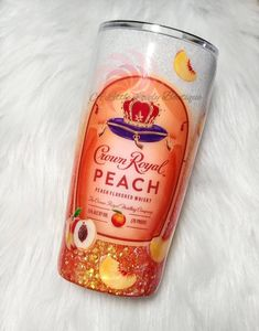 Glittery ombre tumbler featuring crown royal peach logo, available in various sizes. All cups except 12 oz size comes with a straw. The included straw will be CLEAR. Matching straw can be purchased in the drop down menu Diy Tumblers, Personalized Tumblers, Custom Tumblers, Glitter Tumblers, Peach Drinks, Bourbon Drinks, Crown Apple, Crown Royal Drinks, Tumblr Cup