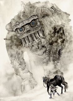 Through the fog, the titan crashed toward the wanderer. He felt the fear coursing though his body, the panic that threatened to overtake his mind. Then his mind flashed on her lying on a stone pedestal, still. He shivered, and stood his ground.