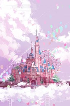 'Pink Castle Balloons' by Wallpaper Iphone Cute, Disney Wallpaper, Cute Wallpapers, Aesthetic Pastel Wallpaper, Aesthetic Wallpapers, Castle Illustration, Hand Illustration, Pink Castle, Anime Scenery