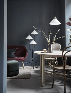 Gravity Home: Tiny Blue Stockholm Apartment Blue Grey Walls, Dark Walls, Modern Interior, Interior Architecture, Interior Design, Innovative Architecture, Light Wooden Floor, Home And Living, Living Room
