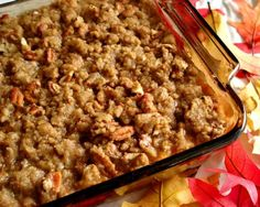 INGREDIENTS:  3 cups sweet potatoes  1⁄2 cup sugar  1⁄2 cup butter  2 eggs, beaten  1 teaspoon vanilla  1⁄3 cup milk    Topping  1⁄3 cup melted butter  1 cup light brown sugar  1⁄2 cup flour  1 cup chopped pecans    DIRECTIONS:        Boil and mash potatoes.  Mix in sugar, butter, eggs, vanilla and