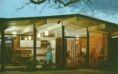 Eichler model home advertisement, c. 1960. Photographic print of original color postcard image, 8 1/32 x 10 in. Courtesy of the Local History Collection, Orange Public Library, Orange, CA.