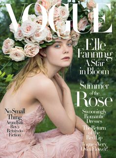 Elle Fanning wears a Valentino Haute Couture dress for Vogue cover