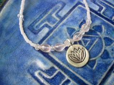 Lotus necklace with soft pink rose quartz & Hill Tribe fine silver