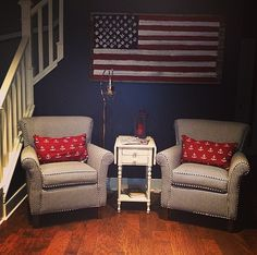 Red white and blue  Lake home  Interior design