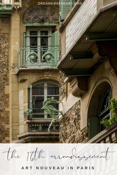 Follow this guide to find Art Nouveau treasures in Paris - the 16th arrondissement. Architect Hector Guimard designed homes that were asymmetrical with flowing lines. A gorgeous off the beaten path in Paris adventure #offthebeatenpathparis #artnouveauparis #guimardparis #guimardartnouveau #paris16 #paris16andguimard