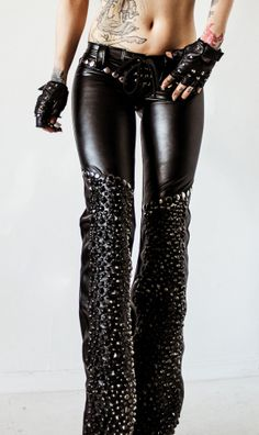 TOXIC VISION black studded drainpipe pants.  I need these in my life. Too bad they are sold out :'(