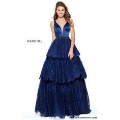 Navy Sherri Hill 50844 Lace A Line Senior Graduation Dress 2017 (400 CAD) ❤ liked on Polyvore featuring dresses